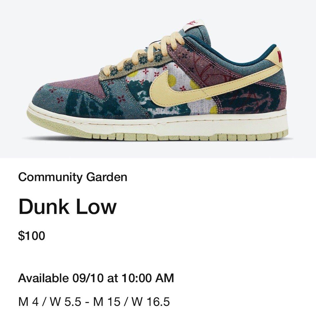 Nike Dunk Low Community Garden CZ9747-900 Release Date