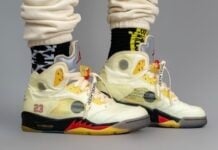 Off-White Air Jordan 5 Sail On Feet
