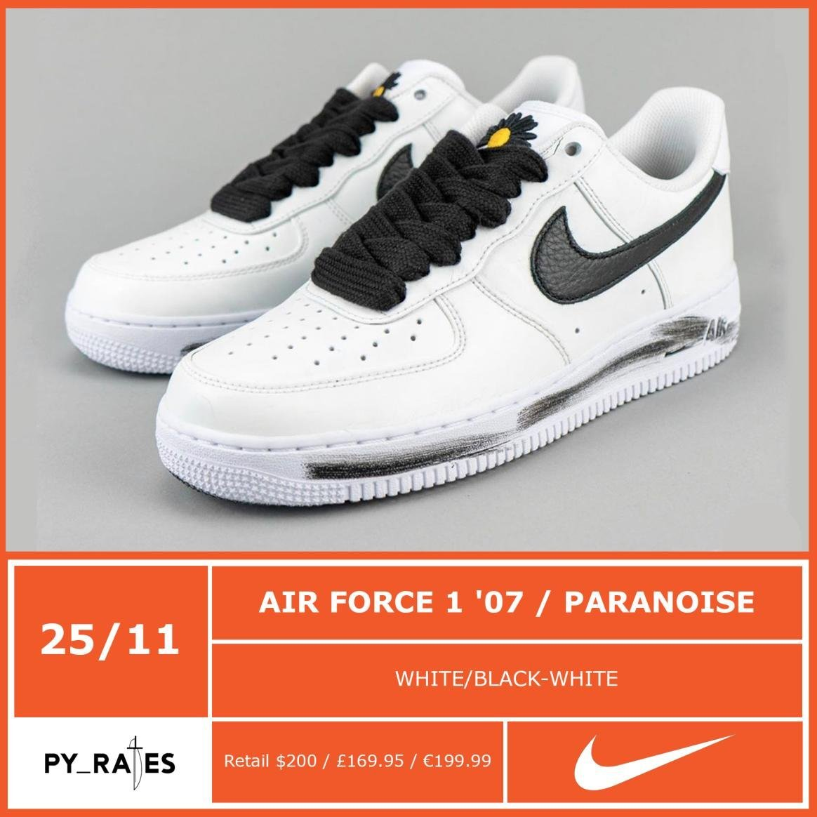 PARANOISE Nike Air Force 1 White Black DD3223-100 Release Info