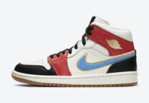 Air Jordan 1 Mid Sail Red Black Blue Gold DC1426-100 Release Date Info