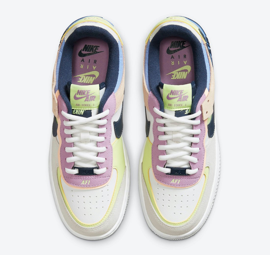 Nike Air Force 1 Shadow Photon Dust Royal Pulse Barely Volt CU8591-001 Release Date Info