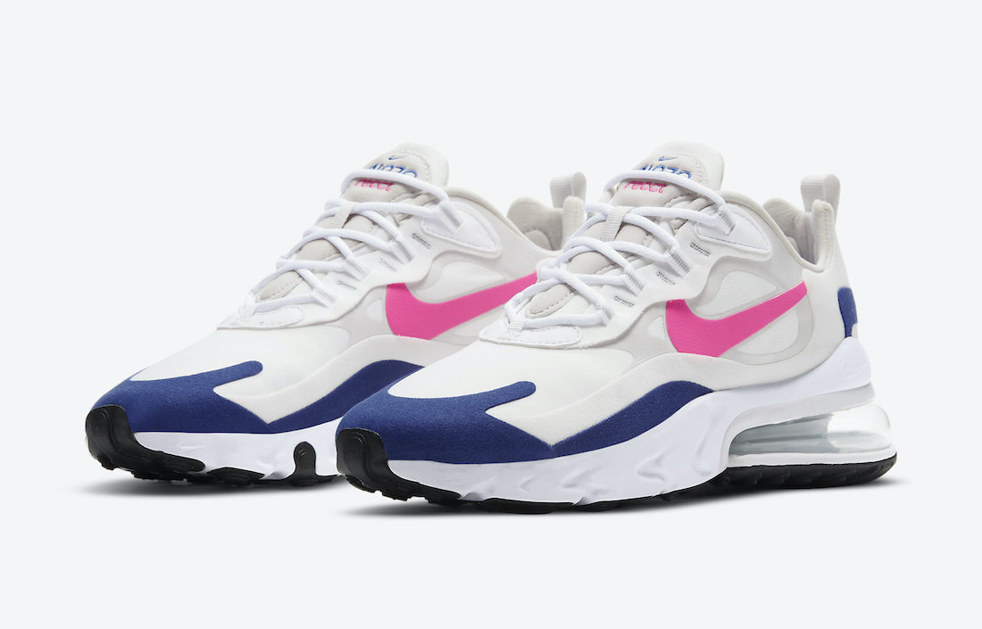 Nike Air Max 270 React White Navy Pink CU7833-101 Release Date Info