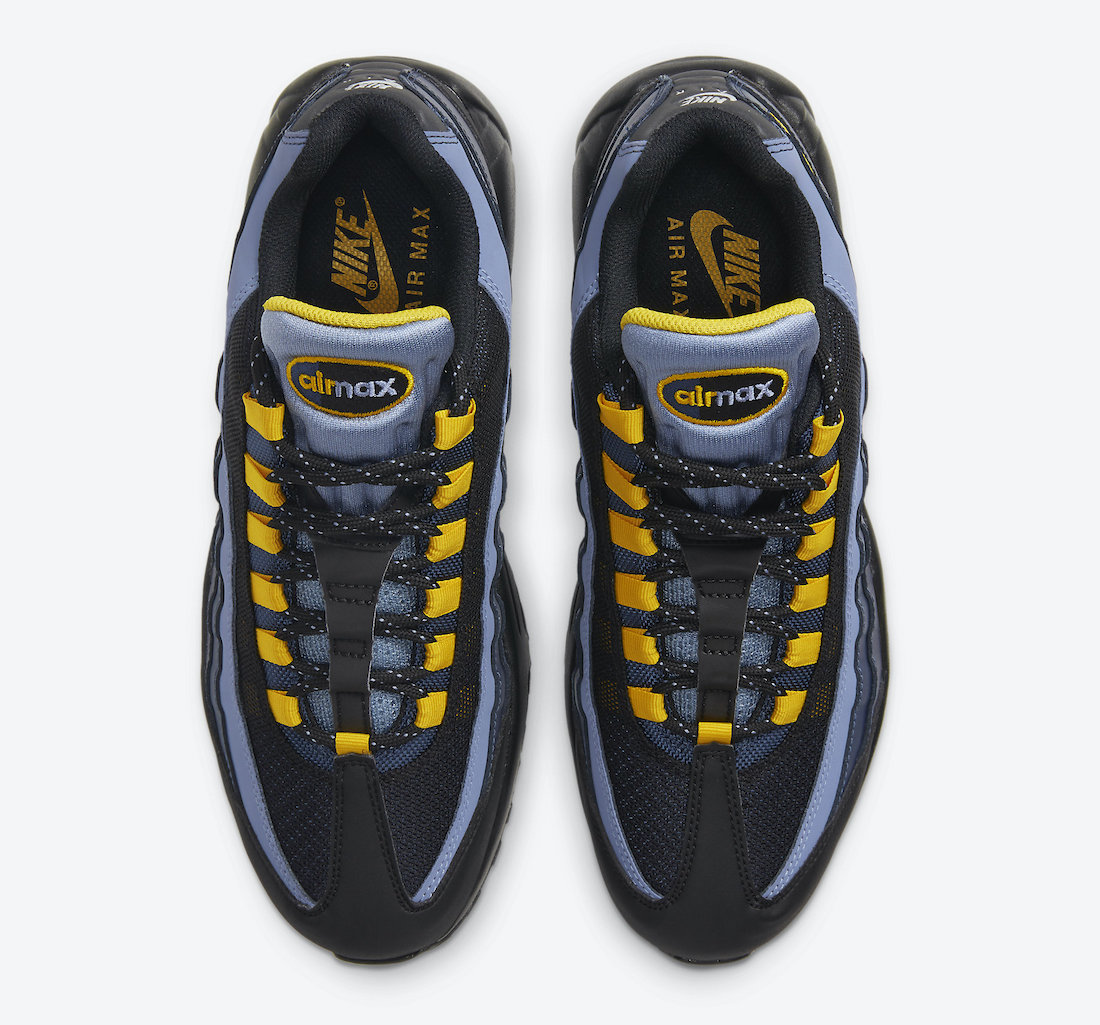 Nike Air Max 95 Black Navy Sky Blue Yellow CT1805-400 Release Date Info