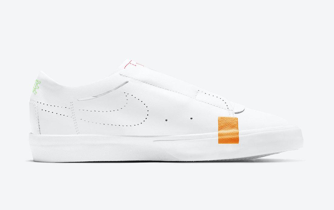 Nike Blazer Slip White Black Green Orange CJ1651-102 Release Date Info