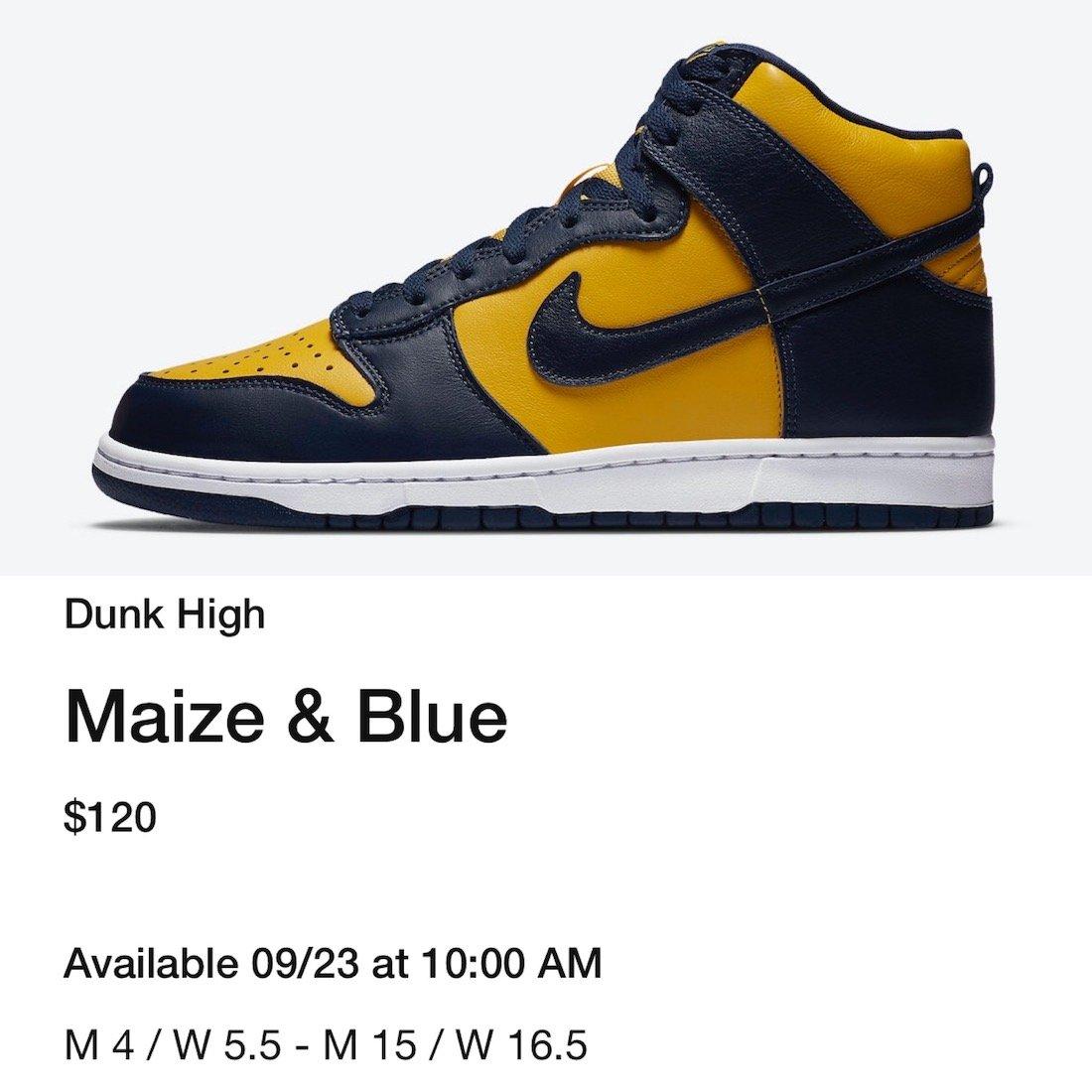 Nike Dunk High Michigan Release Date