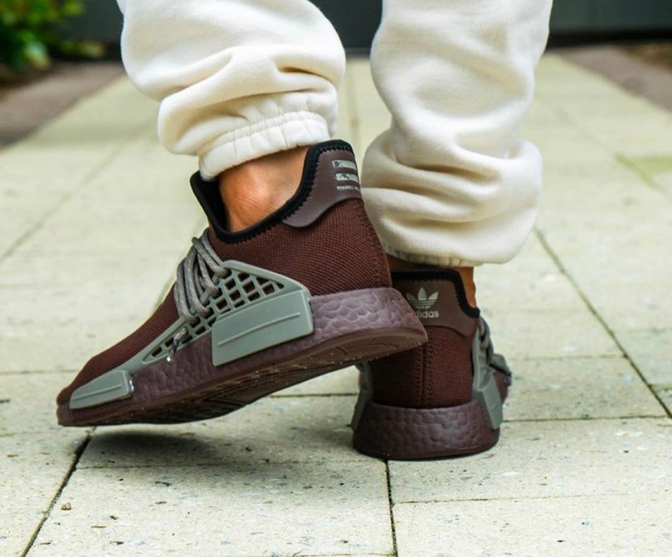Pharrell adidas NMD Hu Chocolate GY0090 On Feet