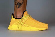 Pharrell adidas NMD Hu Yellow GY0091 On Feet