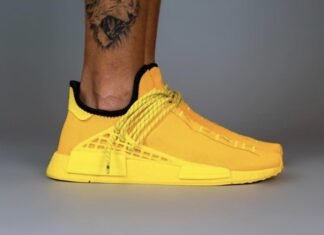 Pharrell adidas NMD Hu Yellow GY0091 On Feet