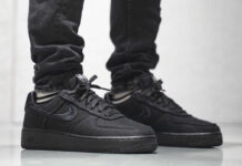 Stussy Nike Air Force 1 Low Black CZ9084-001 On Feet