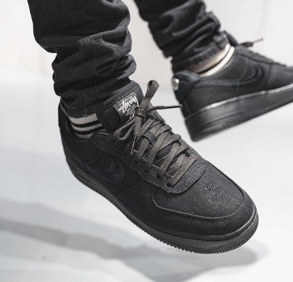 Stussy Nike Air Force 1 Low Black CZ9084-001 On Feet