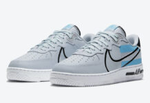 3M Nike Air Force 1 React Pure Platinum Black Baltic Blue CT3316-001 Release Date Info