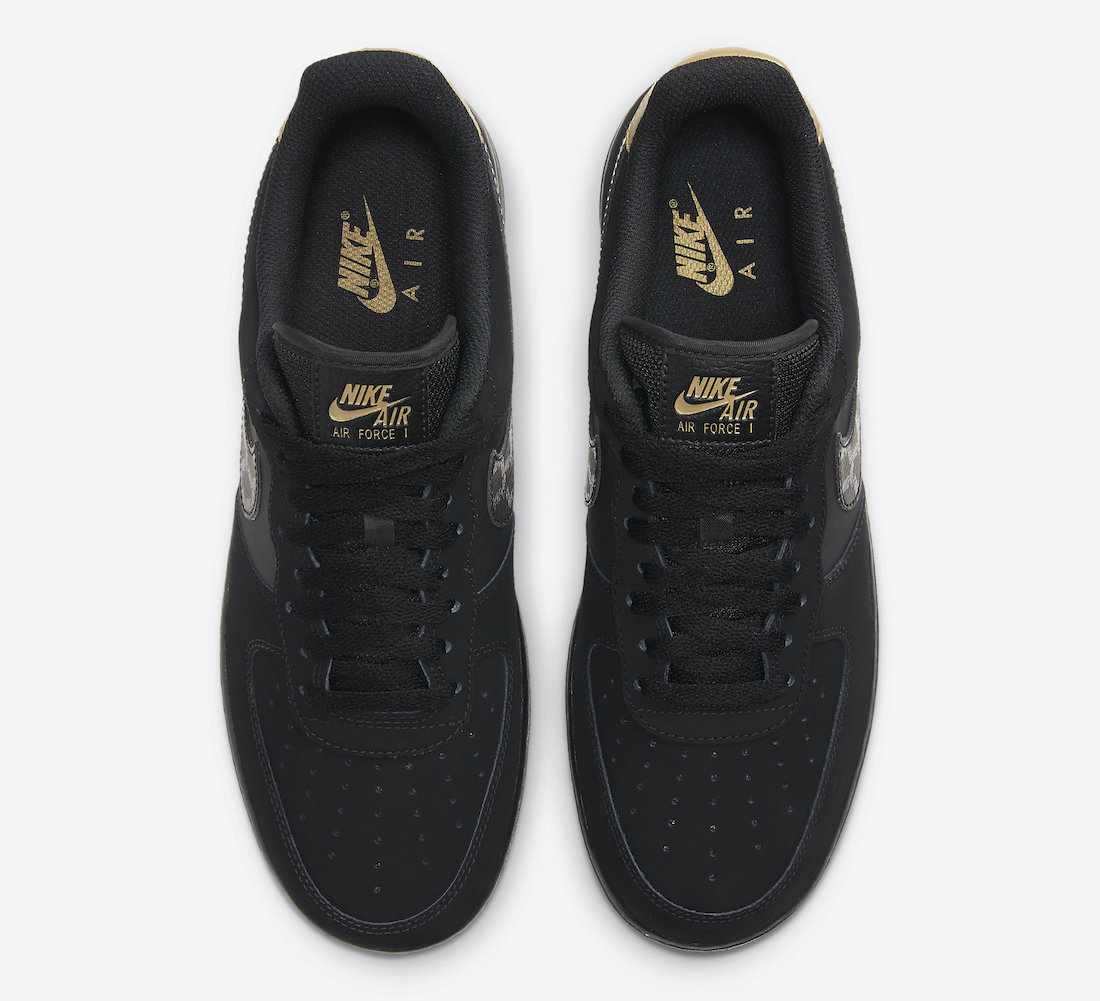 Nike Air Force 1 Low Black Gold Nubuck DH2473-001 Release Date Info