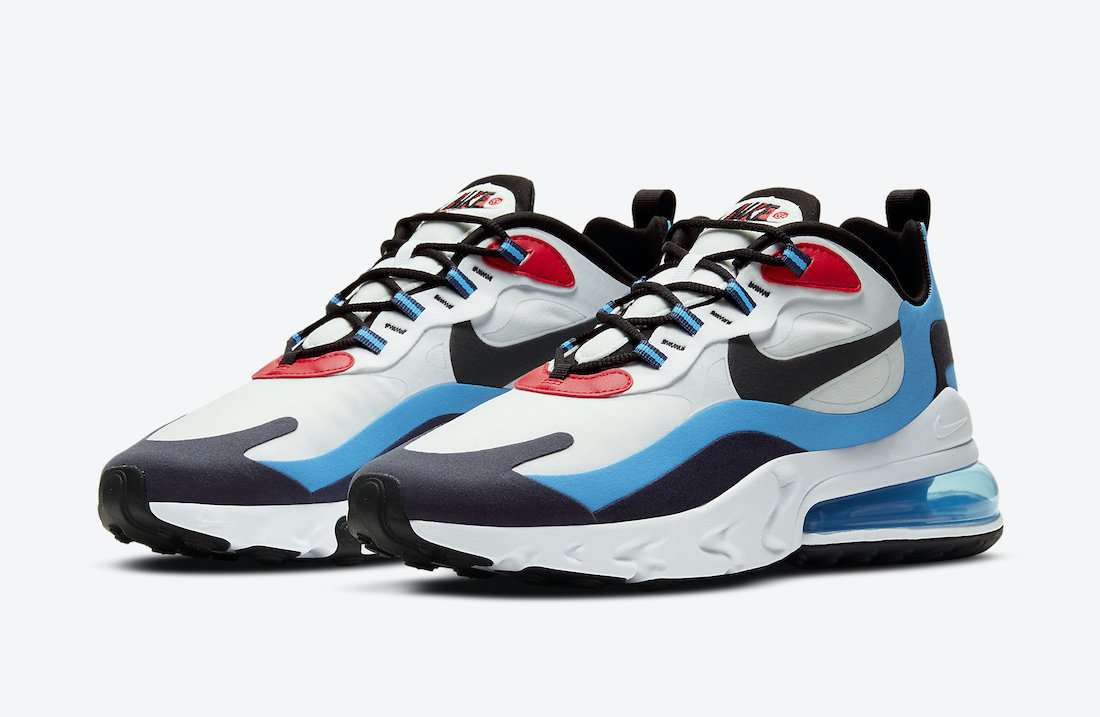 Nike Air Max 270 React White Photo Blue University Red DA2400-100 Release Date Info