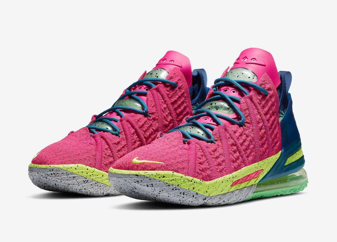 nike lebron 18 los angeles by night pink prime DB8148 600 release date