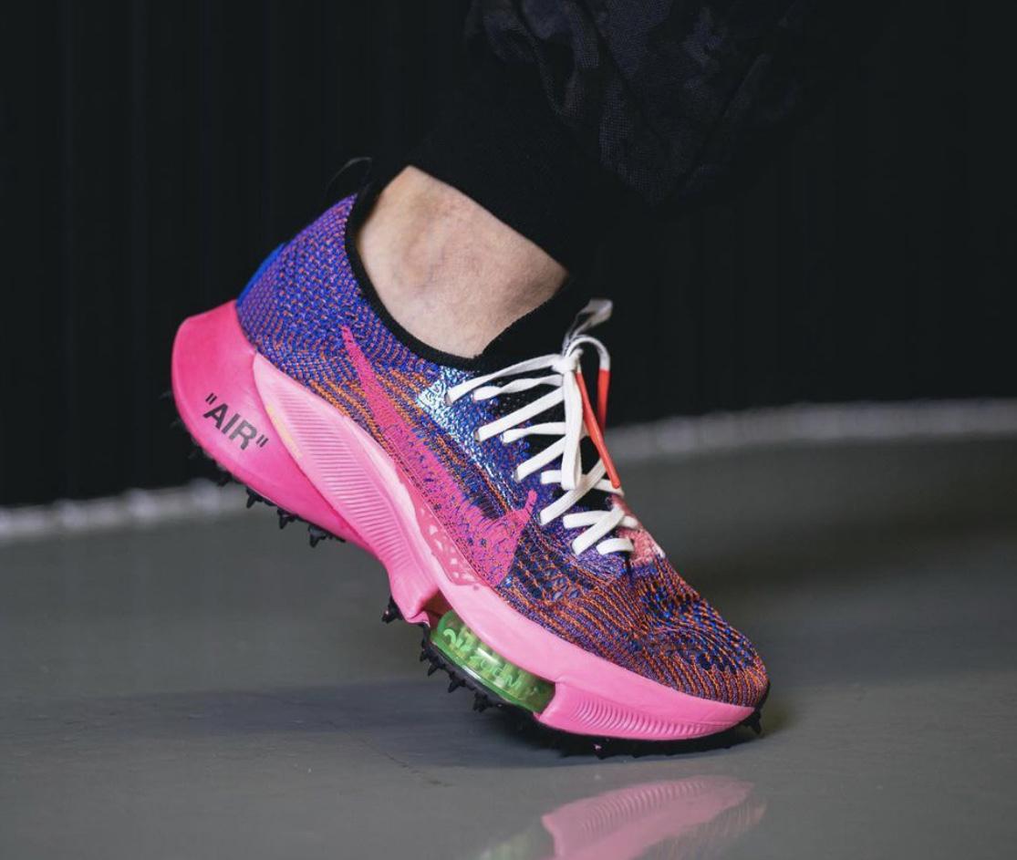 Off-White Nike Air Zoom Tempo NEXT Pink Glow On-Feet