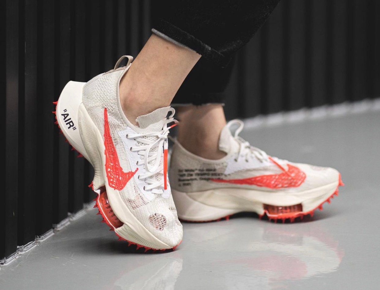 Off-White Nike Air Zoom Tempo NEXT Solar Red On Feet