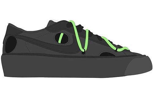Off-White Nike Blazer Low Black Green 2021 Release Date