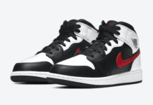 Air Jordan 1 Mid GS Black White Red 554725-075 Release Date Info