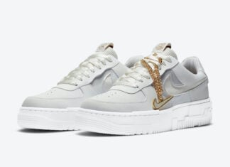 Nike Air Force 1 Pixel Grey Gold Chain DC1160-100 Release Date Info