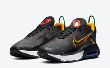 Nike Air Max 2090 Dark Grey Black Chile Red University Gold DC1465-001 Release Date Info