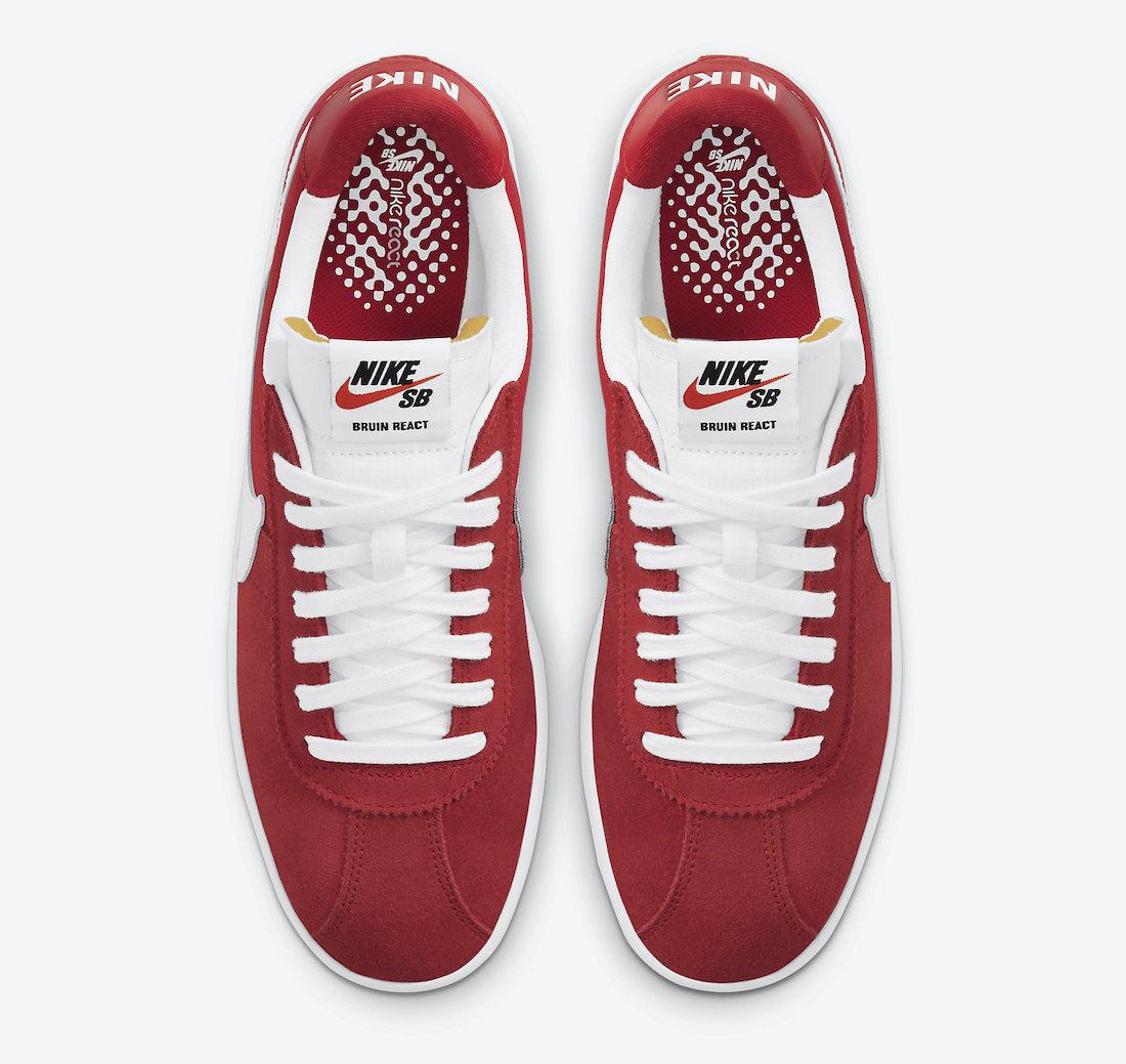 Nike SB Bruin React Red White CJ1661-600 Release Date Info