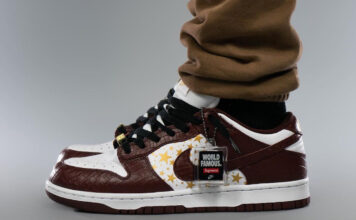 Supreme Nike SB Dunk Low Barkroot Brown Stars DH3228-103 On Feet