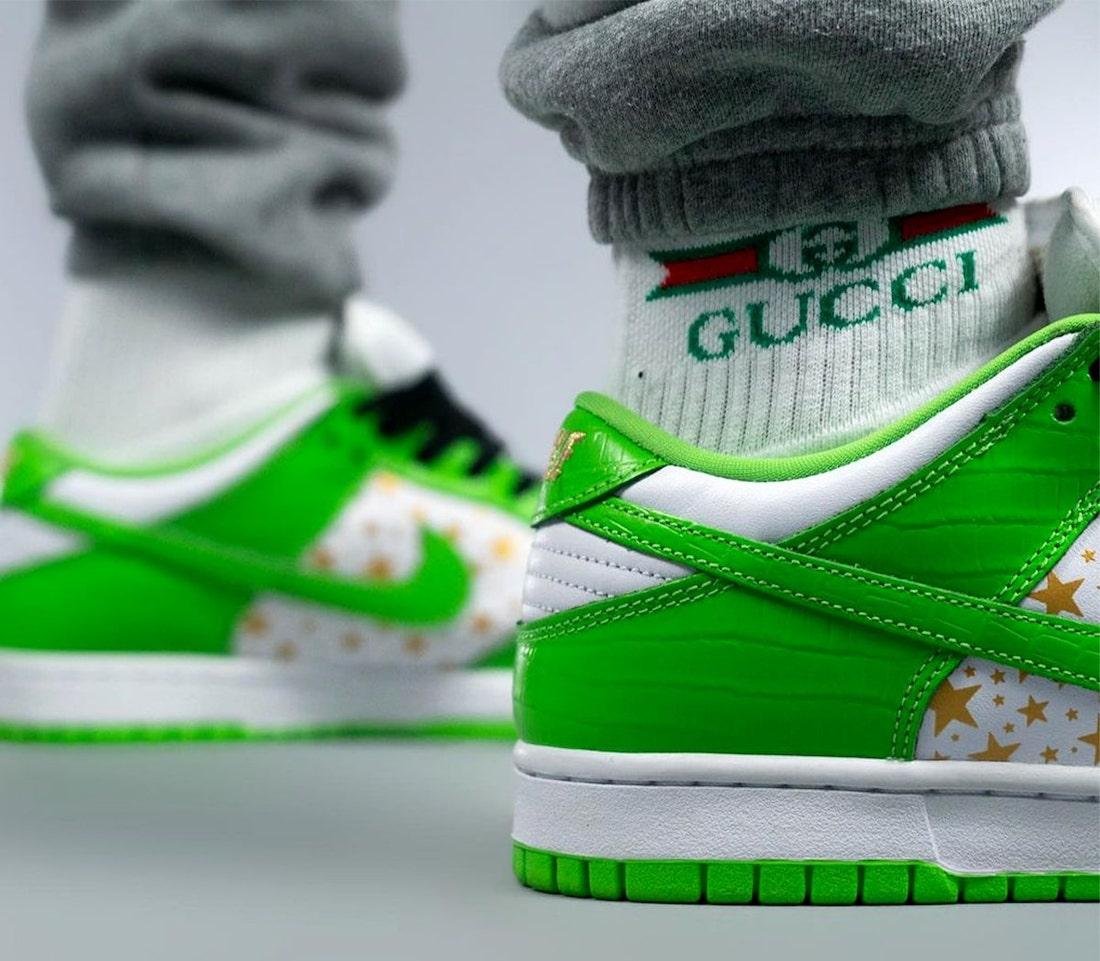 Supreme Nike SB Dunk Low Green Stars DH3228-101 On Feet