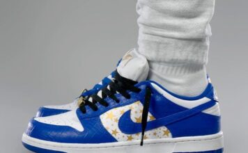 Supreme Nike SB Dunk Low Stars Hyper Blue DH3228-100 On-Feet
