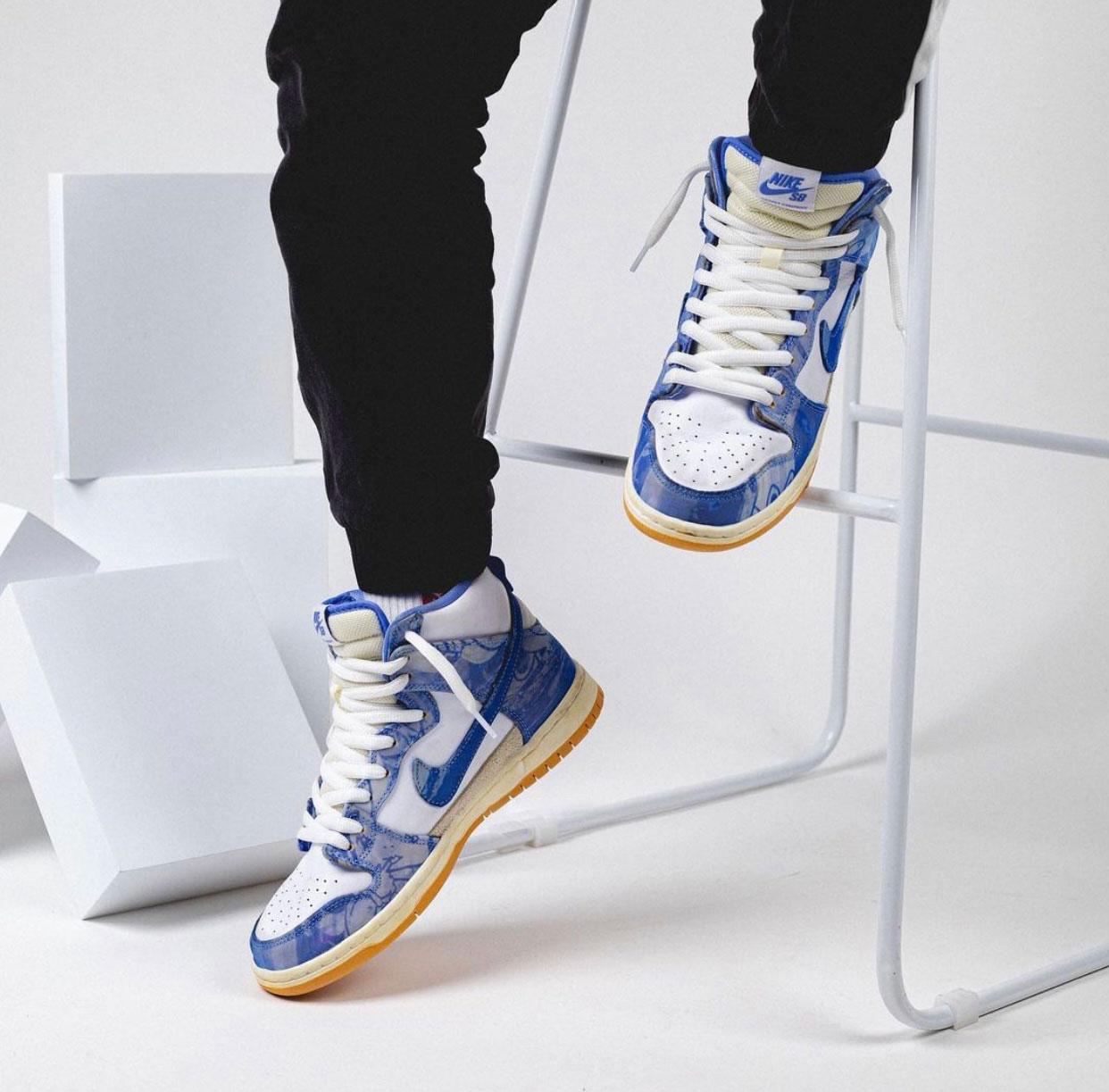 Carpet Company Nike SB Dunk High CV1677-100 On Feet