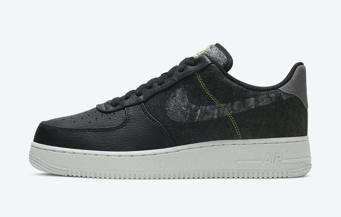 Nike Air Force 1 07 LV8 Black Electric Green CV1698-001 Release Date Info