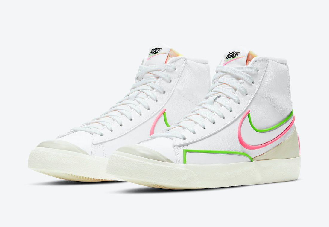 Nike Blazer Mid 77 Infinite White Electric Green Sunset Pulse DC1746-102 Release Date Info