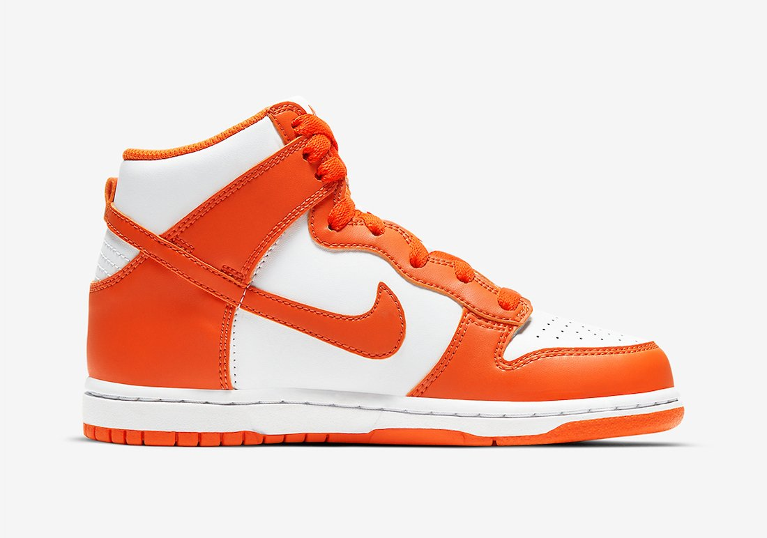 Nike Dunk High Syracuse White Orange Blaze Kids DD2314-100 Release Date