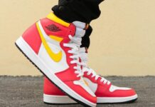 Air Jordan 1 Light Fusion Red Laser Orange 555088-603 On-Feet
