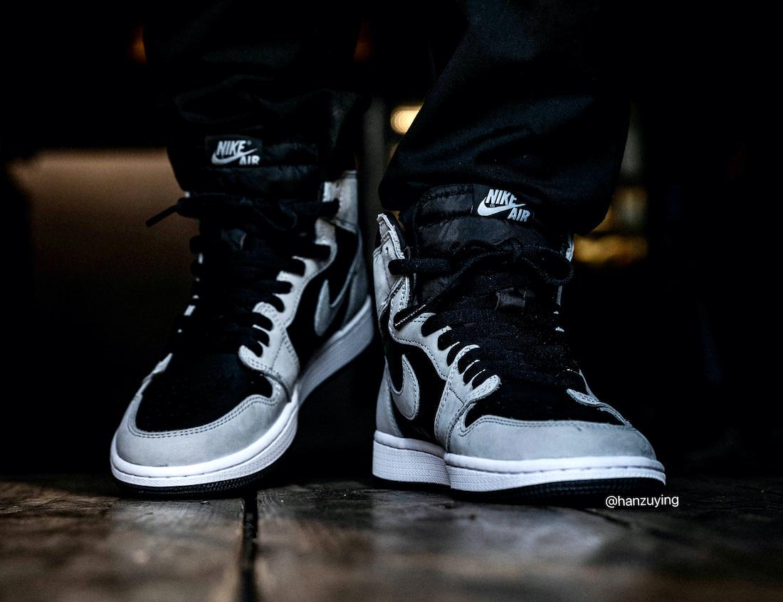 Air Jordan 1 Shadow 2.0 Smoke Grey 555088-035 On Feet