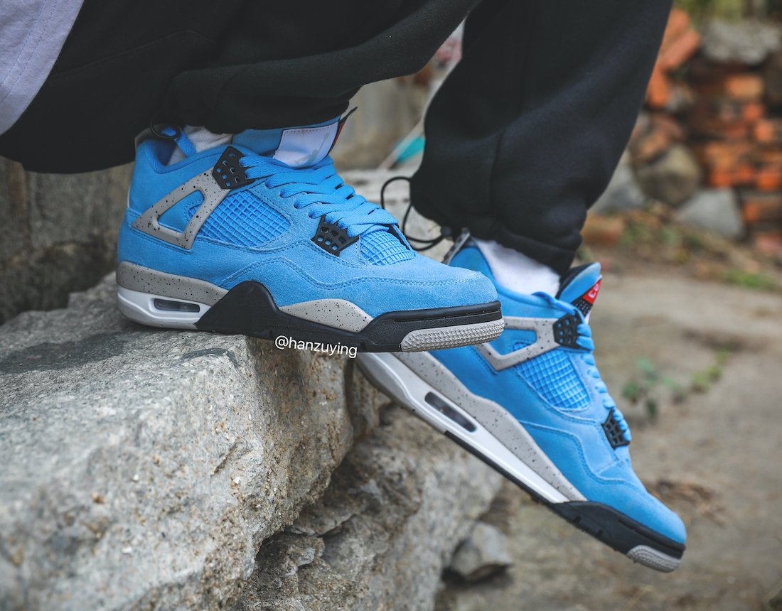 Air Jordan 4 UNC University Blue CT8527-400 On Feet