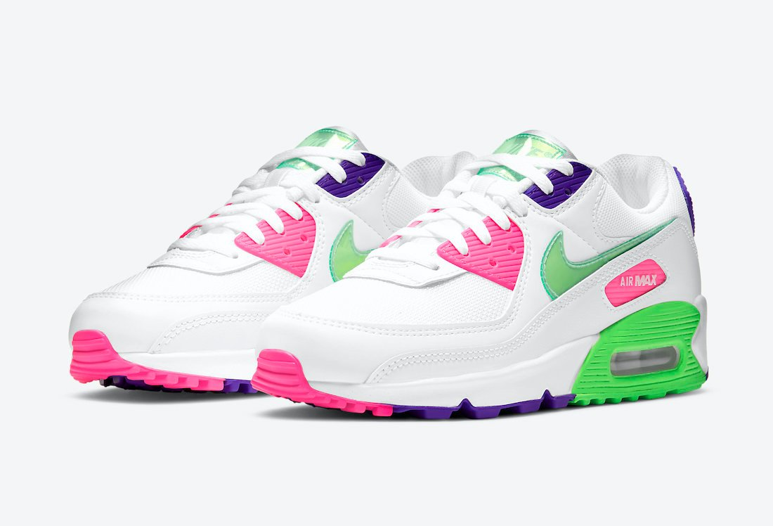 Nike Air Max 90 Green Pink Purple DH0250-100 Release Date Info