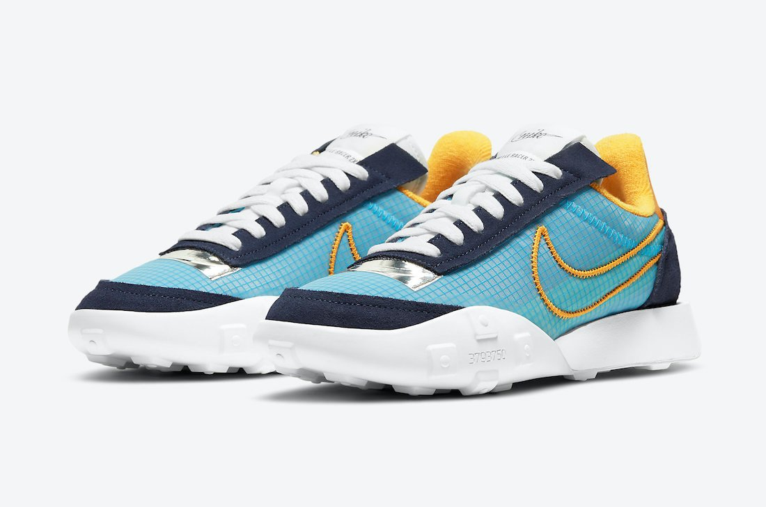 Nike Waffle Racer 2X in Blackened Blue and University Gold