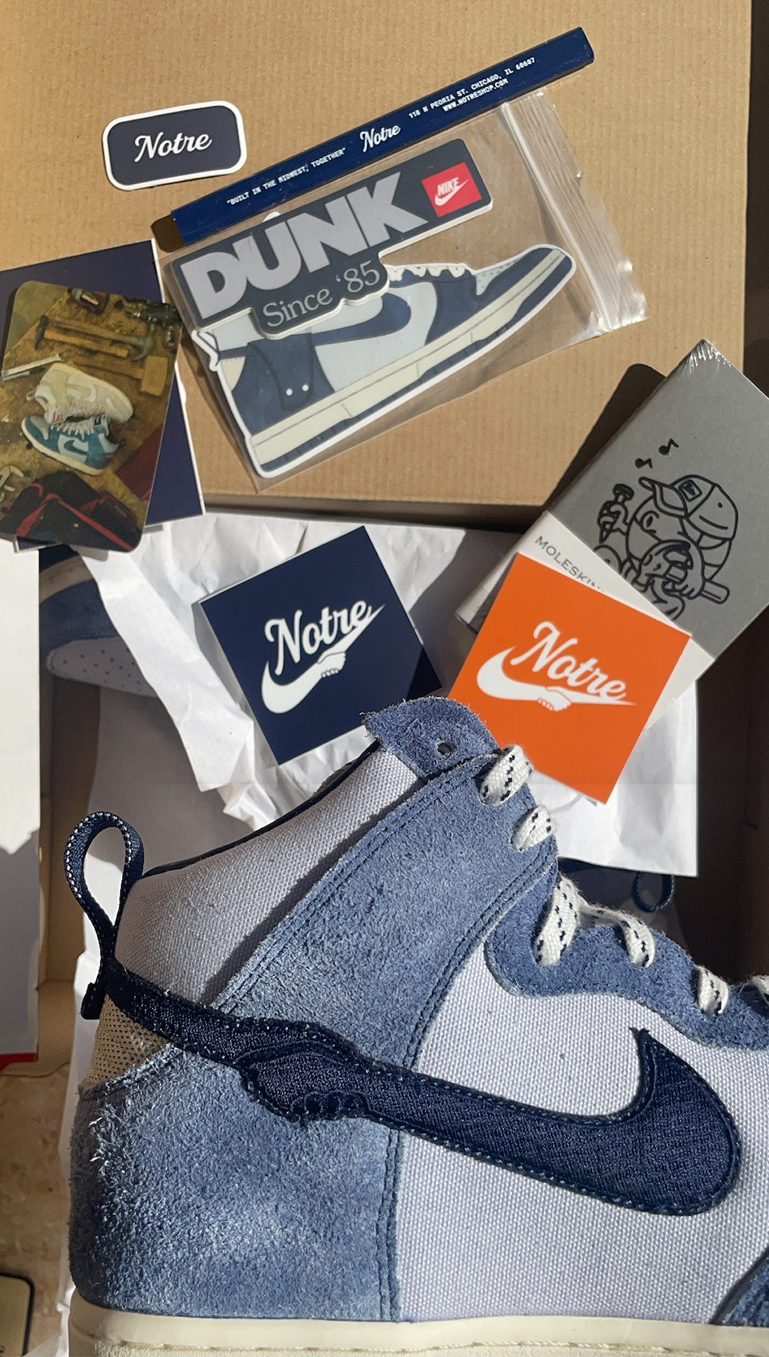 Notre Nike Dunk High Blue Void CW3092-400 Release Info