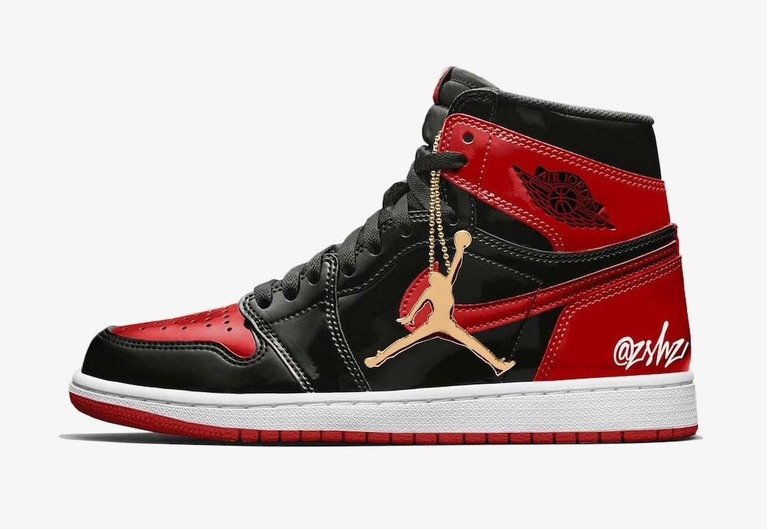 Air Jordan 1 Bred Patent Leather 555088-063 Gold Hangtag Mock-Up