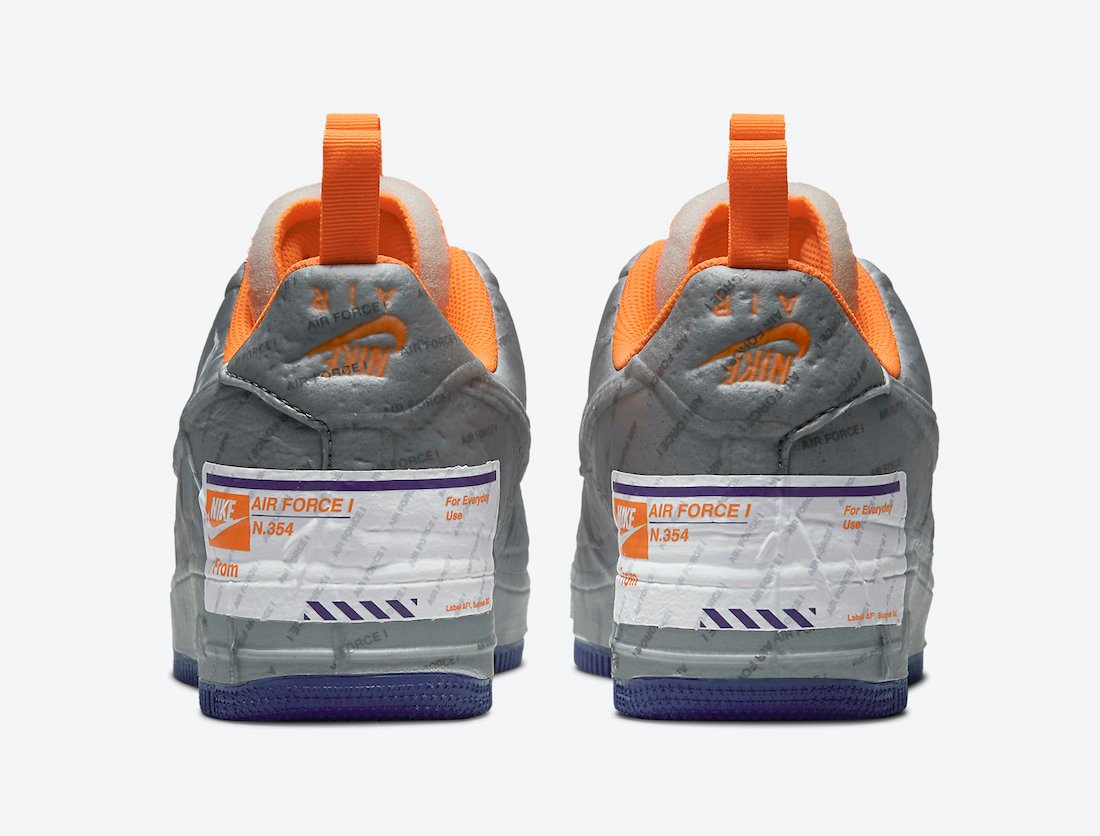 Nike Air Force 1 Experimental Light Smoke Grey Court Purple Total Orange CZ1528-001 Release Date Info