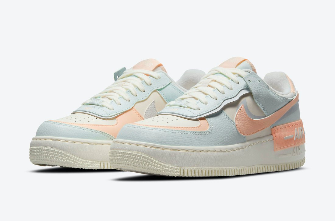 Nike Air Force 1 Shadow in Barely Green and Crimson Tint