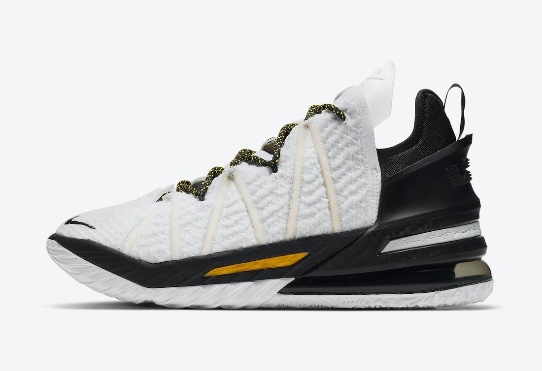 Nike LeBron 18 Home White Amarillo Black CQ9283-100 Release Date Info
