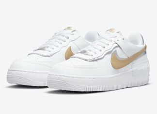 Nike Air Force 1 Shadow White Metallic Gold Silver DM3064-100 Release Date Info
