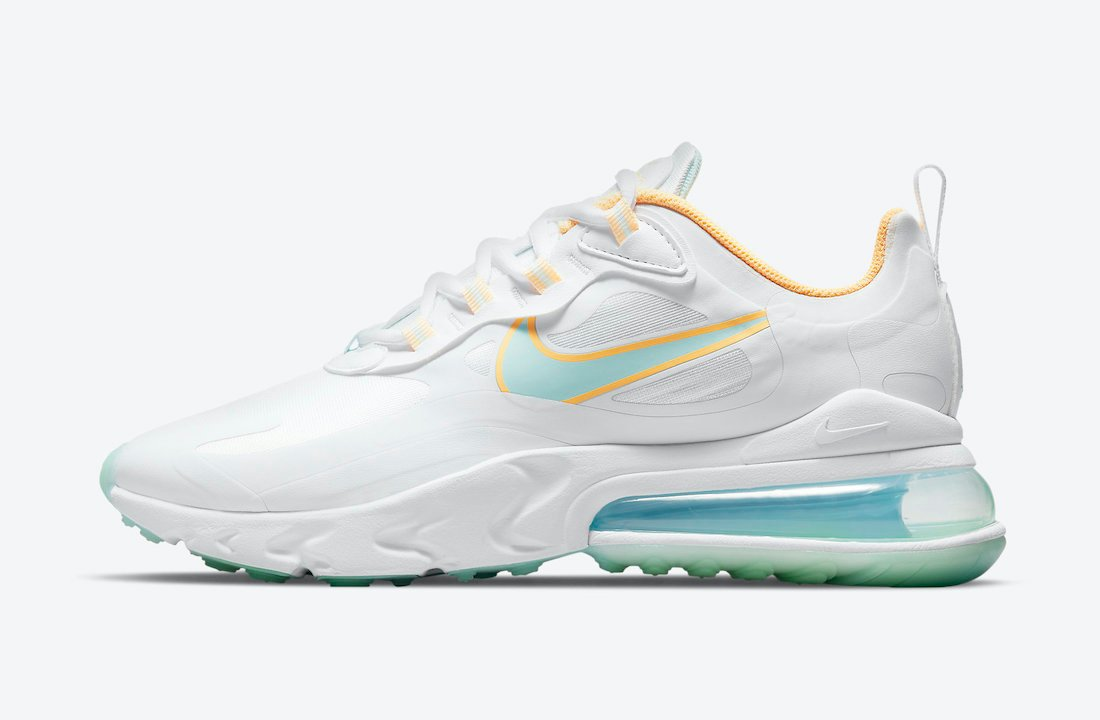 Nike Air Max 270 React White Yellow Blue DJ3027-100 Release Date Info