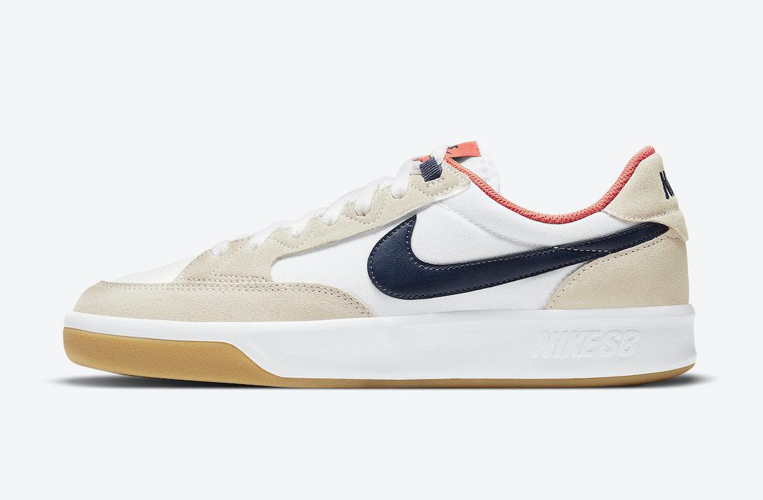 Nike SB Adversary Premium White Turf Orange Midnight Navy CW7456-102 Release Date Info