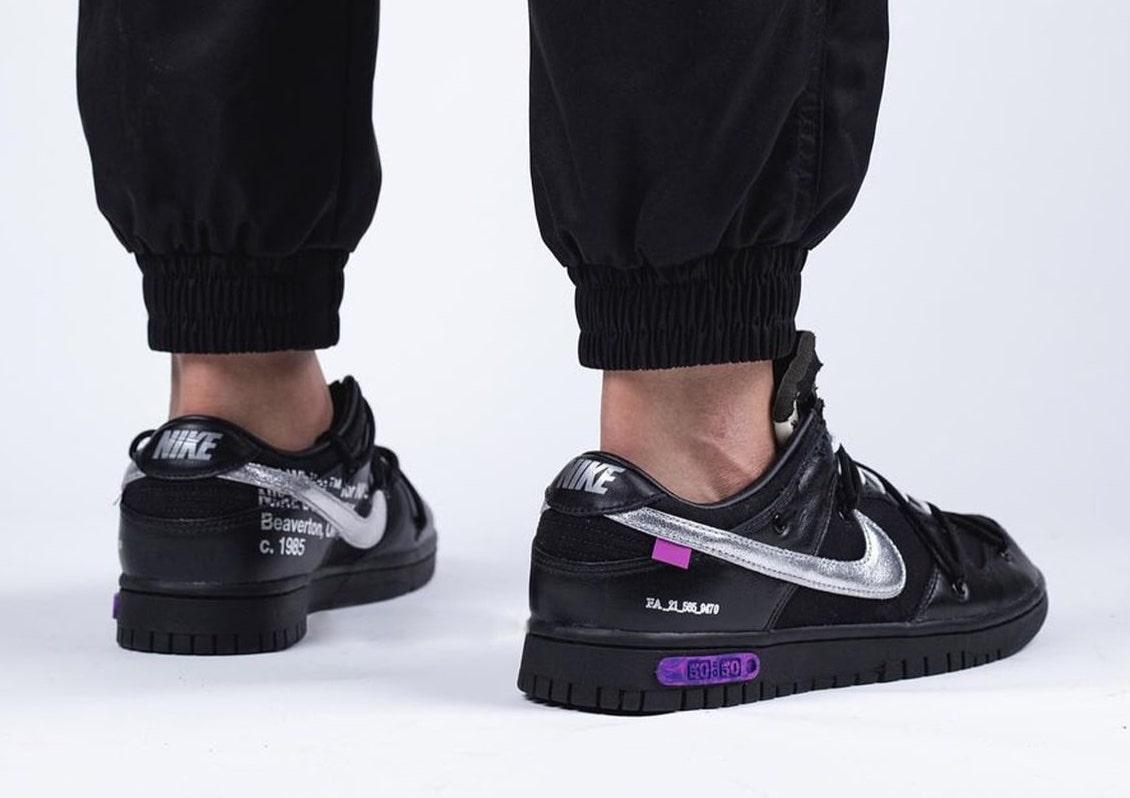 Off-White Nike Dunk 50 of 50 Black Silver Purple On-Feet