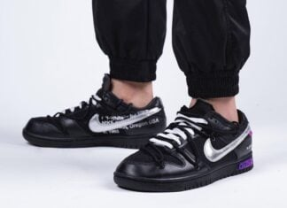 Off-White Nike Dunk 50 of 50 Black Silver Purple On-Feet