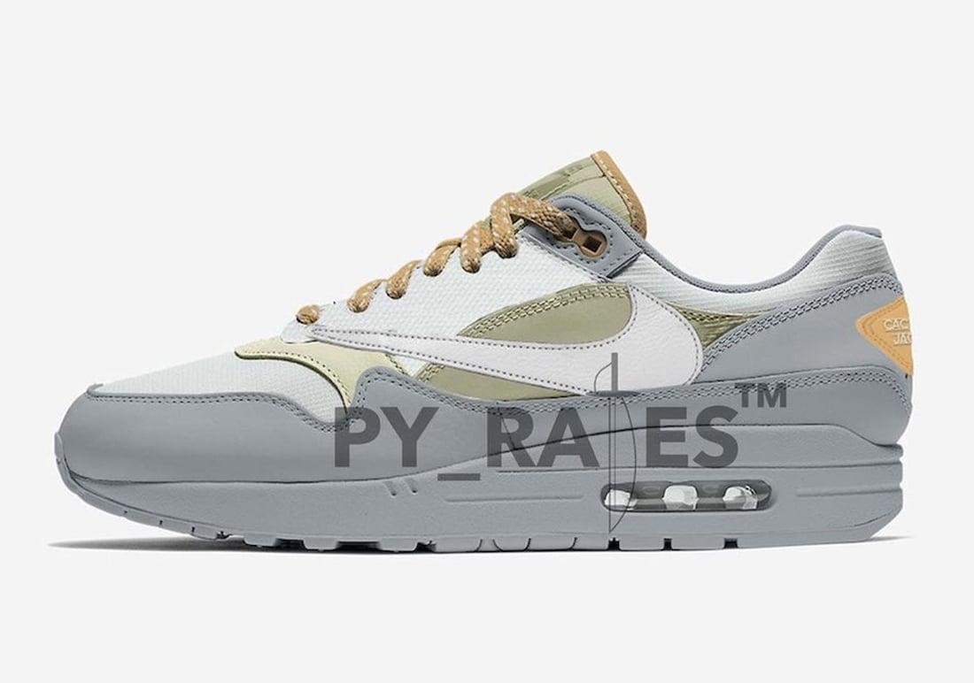 Travis Scott Nike Air Max 1 Grey Haze Light Silver Celadon Canvas Release Date Info