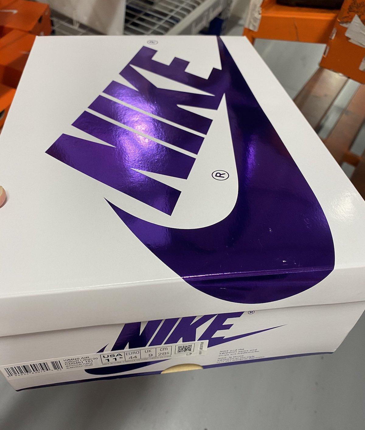 Air Jordan 1 Court Purple Release Date CD0461-151 Box