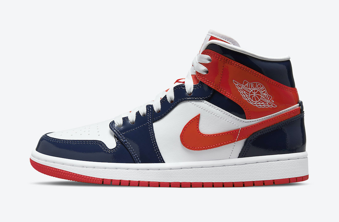 Air Jordan 1 Mid Patent Leather White Navy Orange DJ5984-400 Release Date Info